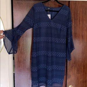 Navy V-neck crochet dress